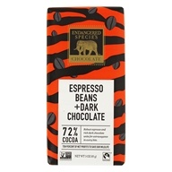 Endangered Species - Dark Chocolate Bar with Espresso Beans 72% Cocoa - 3 oz. by Endangered Species
