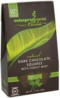 Image of Endangered Species - Dark Chocolate Squares with Forest Mint Bite Size Bars 72% Cocoa - 10 Piece(s)