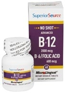 Superior Source - No Shot Advanced B12 2000mcg. B6/Folic Acid 600mcg. Instant Dissolve - 60 Tablets - $18.99