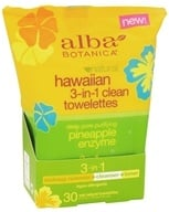 Alba Botanica - Hawaiian 3-In-1 Clean Towelettes Pineapple Enzyme - 30 Towelette(s) by Alba Botanica