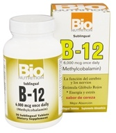 Bio Nutrition - B12 Methylcobalamin Cherry Flavor 6000 mcg. - 50 Tablet(s)