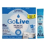 GoLive - Probiotic & Prebiotic 15 Strains Flavorless - 5 x .05 oz. Packets (Trial Size) by GoLive