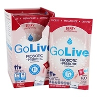 GoLive - Probiotic & Prebiotic 15 Strains Berry Pomegranate - 10 x .34 oz. Packets by GoLive
