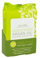 Acure Organics - Argan Oil Cleansing Towelettes For Face & Body Unscented - 30 Towelette(s) (854049002507)