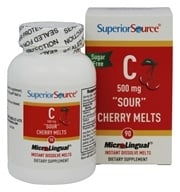 Superior Source - Vitamin C Melts Instant Dissolve Sour Cherry 500 mg. - 90 Tablets
