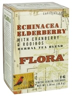 Flora - Herbal Tea Blend Echinacea Elderberry with Cranberry & Rooibos Caffeine-Free - 16 Tea Bags (061998637623)