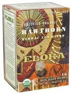 Flora - Certified Organic Herbal Tea Blend Hawthorn Caffeine-Free - 16 Tea Bags