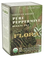 Flora - Certified Organic Herbal Tea Pure Peppermint Caffeine-Free - 16 Tea Bags