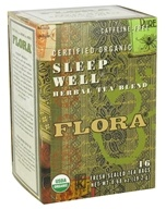 Flora - Certified Organic Herbal Tea Blend Sleep Well Caffeine-Free - 16 Tea Bags