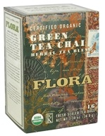 Flora - Certified Organic Herbal Tea Blend Green Tea Chai - 16 Tea Bags