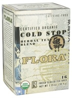 Flora - Certified Organic Herbal Tea Blend Cold Stop Caffeine Free - 16 Tea Bags (061998637500)