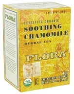 Flora - Certified Organic Herbal Tea Soothing Chamomile Caffeine-Free - 16 Tea Bags