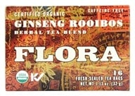 Flora - Certified Organic Herbal Tea Blend Double Ginseng Caffeine-Free - 16 Tea Bags (061998637593)