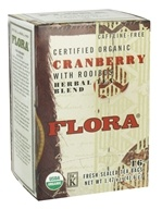 Flora - Certified Organic Herbal Tea Blend Cranberry with Rooibos Caffeine-Free - 16 Tea Bags (061998637524)