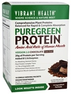 Vibrant Health - Pure Green Protein Powder Chocolate 10 Packets - 13.25 oz.
