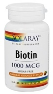 Solaray - Biotin Sugar-Free Natural Orange Flavor 1000 mcg. - 100 Sublingual Lozenges