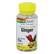 Solaray - Ginger Root Organically Grown 540 mg. - 100 Vegetarian Capsules