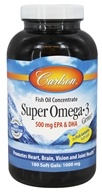 Carlson Labs - Super Omega-3 Gems in Fish Gelatin 500 mg. - 180 Softgels