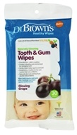 Dr. Brown's - Healthy Wipes Naturally Cleaning Tooth & Gum 0m+ Glowing Grape - 30 Wipe(s)
