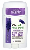 Via Nature - Triple Action Natural Enzyme Deodorant Stick Lavender Eucalyptus - 2.25 oz.