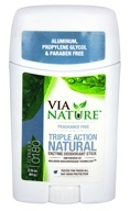 Via Nature - Triple Action Natural Enzyme Deodorant Stick Fragrance Free - 2.25 oz.