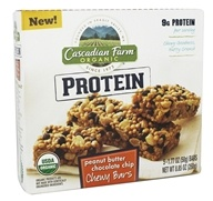 Cascadian Farm - Organic Granola Protein Bars Chewy Peanut Butter Chocolate Chip - 5 Bars