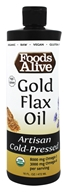 Foods Alive - Organic 100% Gold Flax Oil Light & Buttery - 16 oz.