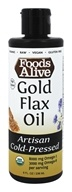 Foods Alive - Organic 100% Gold Flax Oil Light & Buttery - 8 oz.
