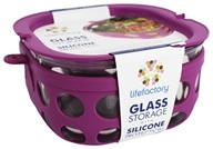 Lifefactory - Glass Food Storage with Silicone Sleeve Huckleberry - 32 oz.