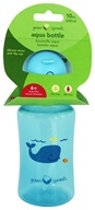 Green Sprouts - Aqua Bottle with Flip Cap & Silicone Straw for 6 Months+ Aqua - 10 oz.