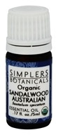 Simplers Botanicals - Organic Essential Oil Sandalwood Australian - 5 ml.