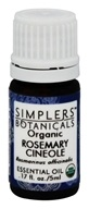 Simplers Botanicals - Organic Essential Oil Rosemary Cineole - 5 ml.