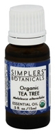 Simplers Botanicals - Organic Essential Oil Tea Tree - 15 ml.