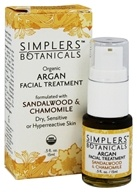 Simplers Botanicals - Organic Argan Facial Treatment Sandlewood & Chamomile - 15 ml.