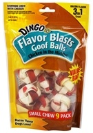 Dingo - Chicken In The Middle Flavor Blasts Rawhide Chew Goof Balls Bacon - 9 Pack