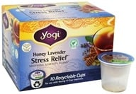 Yogi Tea - Stress Relief Tea Caffeine Free Recyclable K-Cups Honey Lavender - 10 K-Cup(s)