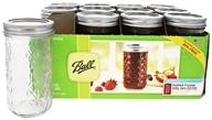 Ball - Regular Mouth 12 oz. Quilted Crystal Jelly Mason Jars Freezer Safe - 12 Count