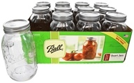 Ball - Regular Mouth 32 oz. Quart Mason Jars - 12 Count