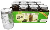Ball - Wide Mouth 32 oz. Quart Mason Jars - 12 Count
