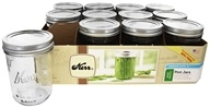 Kerr - Wide Mouth 16 oz. Pint Mason Jars Freezer Safe - 12 Compte