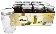 Kerr - Wide Mouth 32 oz. Quart Mason Jars - 12 Count