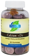 Priority One - Calcium +D3 Orange, Cherry and Strawberry - 60 Gummies