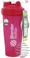 Blender Bottle - Classic Shaker Bottle with Loop Full-Color Pink - 28 oz. By Sundesa