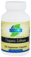 Priority One - Organic Lithium 5 mg. - 250 Vegetarian Capsules