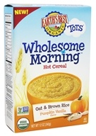 Earth's Best - Organic Tots Wholesome Morning Hot Cereal Oat & Brown Rice Pumpkin Vanilla Flavor - 12 oz.