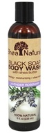 Shea Natural - Black Soap Body Wash with Shea Butter Lavender Rosemary - 8 oz.