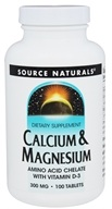 Source Naturals - Calcium & Magnesium Amino Acid Chelate with Vitamin D3 300 mg. - 100 Tablets