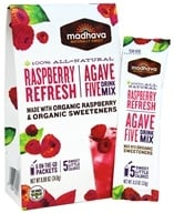 Madhava - All Natural Agave Five Drink Mix - 6 x 0.88 oz. Packets Raspberry Refresh