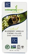 Endangered Species - Dark Chocolate Bar 72% Cocoa Blueberry Vanilla Crème Filled - 3 oz.