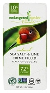 Endangered Species - Dark Chocolate Bar 72% Cocoa Sea Salt and Lime Crème Filled - 3 oz.